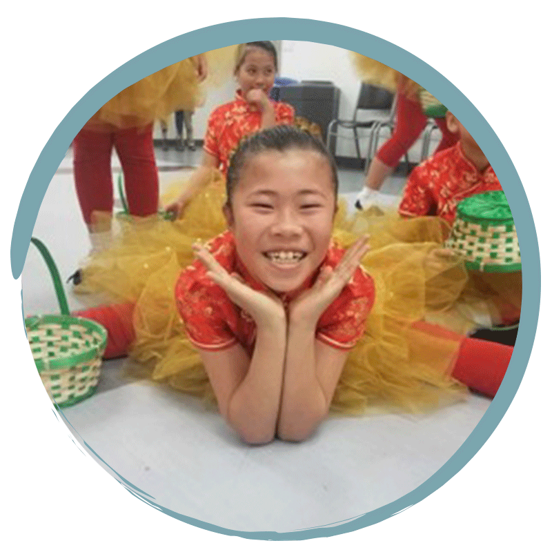 young girl in costume for performance