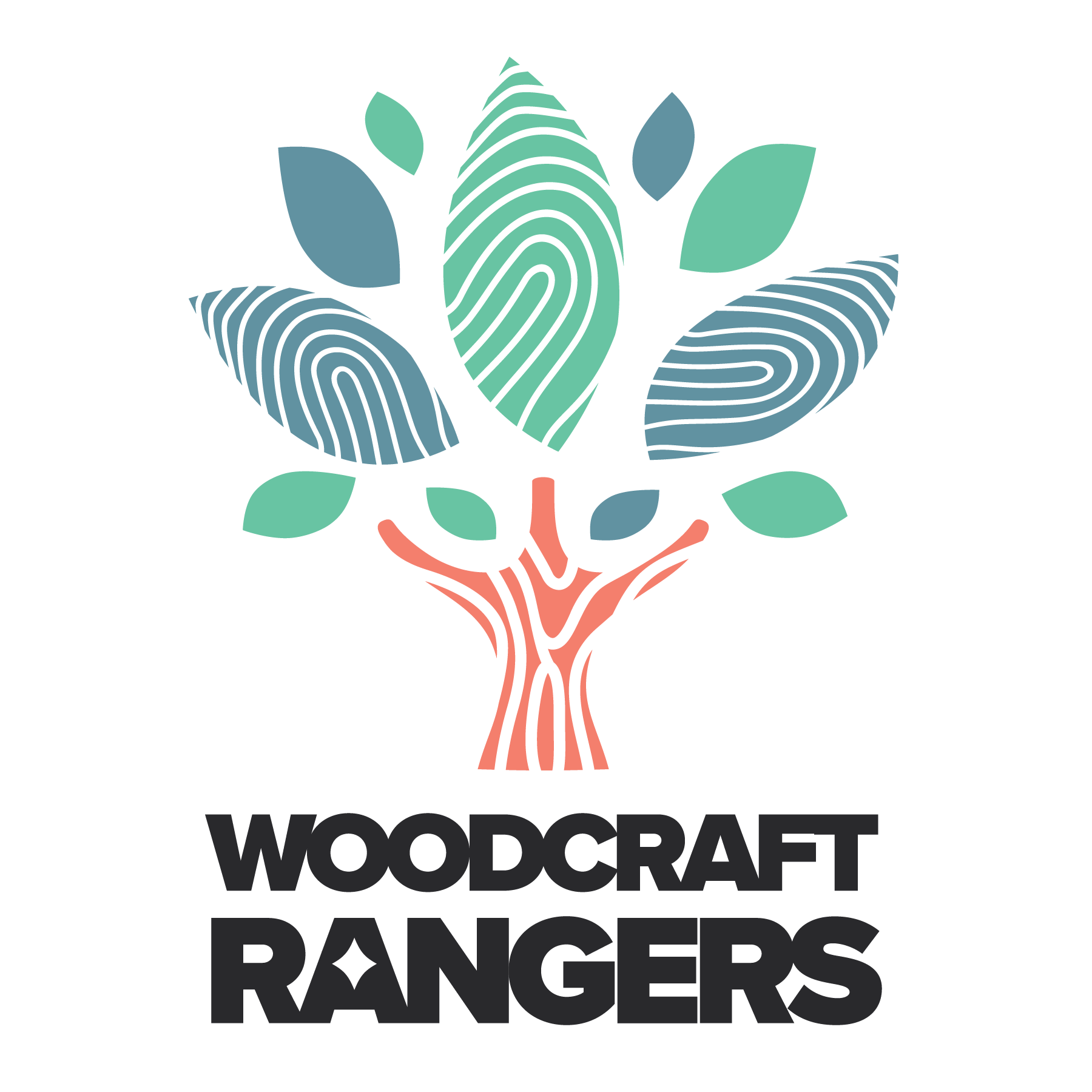 Woodcraft Rangers Logo - Full-color, stacked version